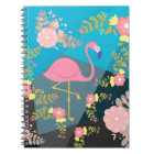 Cool Trendy Chic Cute Pink Girly Floral Flamingo Notebook
