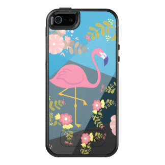 Cool Trendy Chic Cute Pink Girly Floral Flamingo OtterBox iPhone 5/5s/SE Case
