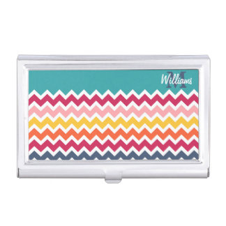 Cool trendy colourful custom Monogram chevron Business Card Holder