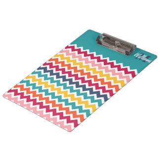 Cool trendy colourful custom Monogram chevron Clipboard