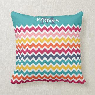Cool trendy colourful custom Monogram chevron Cushion