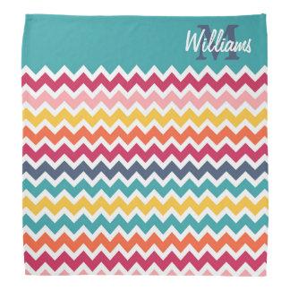 Cool trendy colourful custom Monogram chevron Kerchiefs