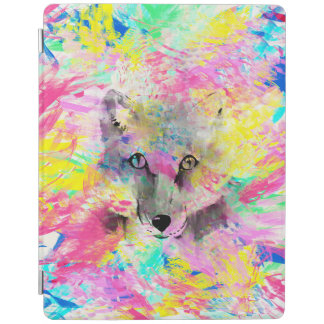 Cool trendy colourful vibrant fox abstract paint iPad cover