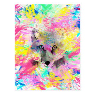 Cool trendy colourful vibrant fox abstract paint postcard