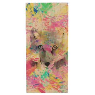 Cool trendy colourful vibrant fox abstract paint wood USB flash drive