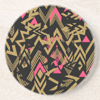 Cool trendy faux gold glitter geometric pattern coaster