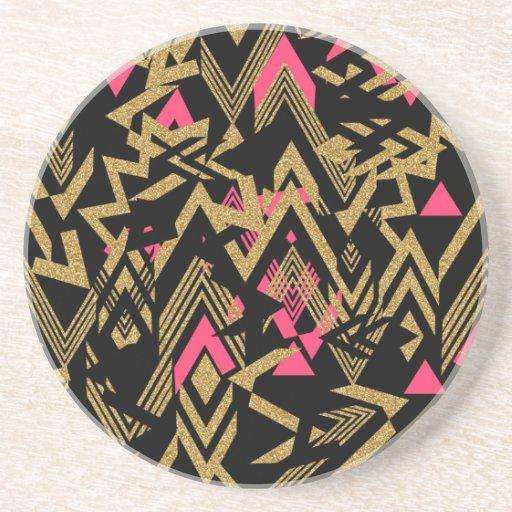 Cool trendy faux gold glitter geometric pattern drink coaster