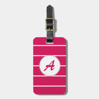 Cool Trendy Girly Pink White Striped Monogram Luggage Tag