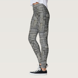 Cool trendy grey and black stone wall texture des leggings