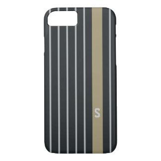 Cool trendy masculine black grey stripes monogram iPhone 8/7 case