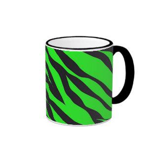 Cool Trendy Neon Lime Green Zebra Stripes Pattern Ringer Mug