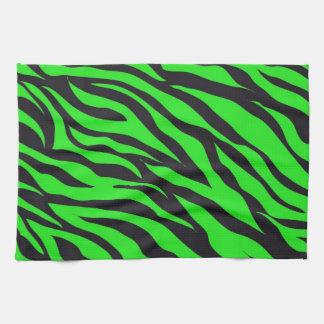 Cool Trendy Neon Lime Green Zebra Stripes Pattern Tea Towel