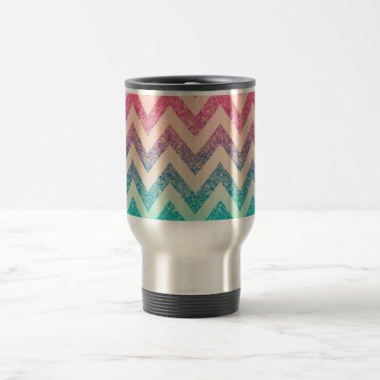 Cool Trendy Ombre Zigzag Chevron Pattern Travel Mug