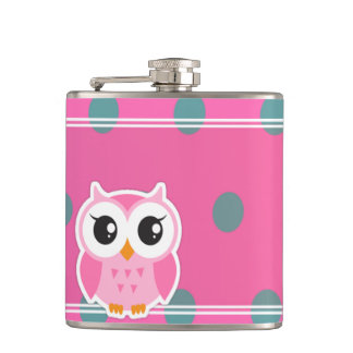 Cool Trendy Polka Dots With Cute Owl Hip Flask