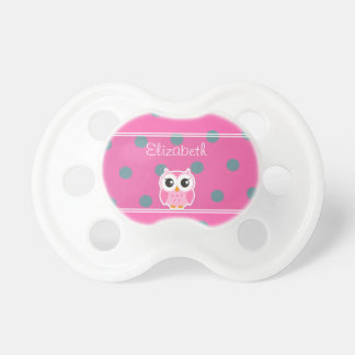 Cool Trendy Polka Dots With Cute Owl-Personalized Baby Pacifiers