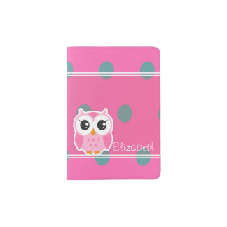 Cool Trendy Polka Dots With Cute Owl-Personalized Passport Holder