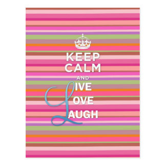 "Cool trendy quote ""Keep Calm and Live Love Laugh"" Postcard"