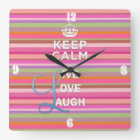 """Cool trendy quote """"Keep Calm and Live Love Laugh"""" Square Wall Clock"""