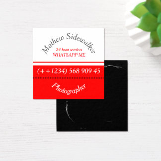 Cool Trendy Red and White Cubic Square Business Card