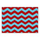 Cool Trendy Teal Turquoise Red Chevron Zigzags Card