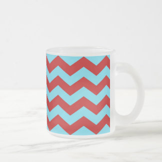 Cool Trendy Teal Turquoise Red Chevron Zigzags Frosted Glass Mug