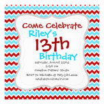 Cool Trendy Teal Turquoise Red Chevron Zigzags Invitation