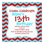 Cool Trendy Teal Turquoise Red Chevron Zigzags Invitations