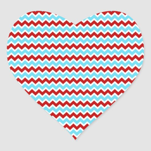 Cool Trendy Teal Turquoise Red Chevron Zigzags Stickers