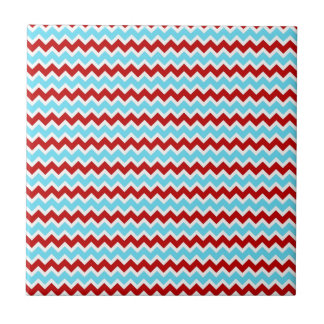 Cool Trendy Teal Turquoise Red Chevron Zigzags Small Square Tile