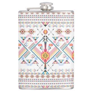 Cool trendy tribal ethnic geometric pattern hip flask