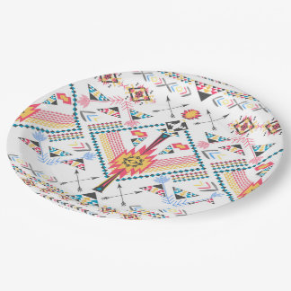 Cool trendy tribal ethnic geometric pattern paper plate