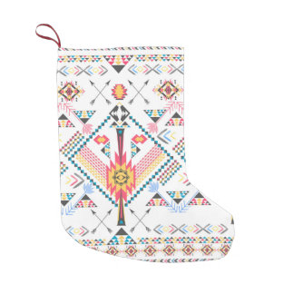 Cool trendy tribal ethnic geometric pattern small christmas stocking