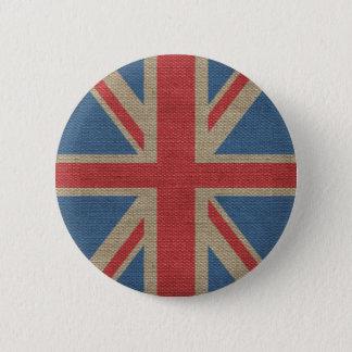 Cool trendy U.K. Union Jack Flag burlap texture 6 Cm Round Badge