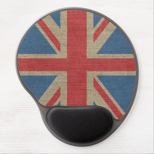 Cool trendy U.K. Union Jack Flag burlap texture Gel Mouse Pad