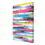 Cool trendy vibrant abstract paint stripes gallery wrap canvas
