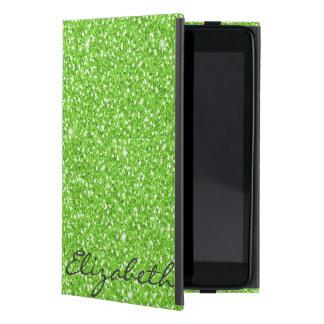Cool trendy vibrant neon green faux glitter cover for iPad mini