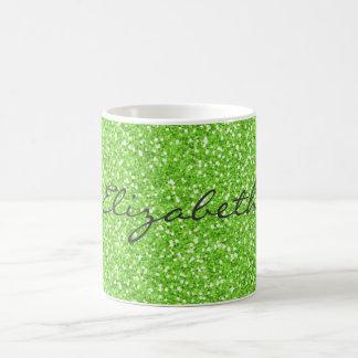 Cool trendy vibrant neon green faux glitter basic white mug