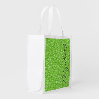 Cool trendy vibrant neon green faux glitter reusable grocery bags