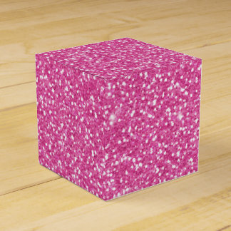 Cool trendy vibrant neon hot pink faux glitter favour box