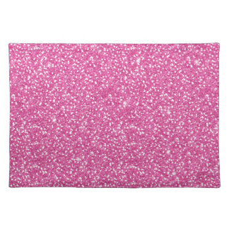 Cool trendy vibrant neon hot pink faux glitter place mat
