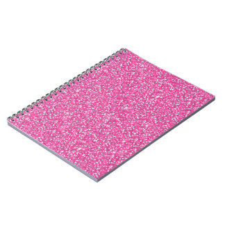 Cool trendy vibrant neon hot pink faux glitter spiral notebook