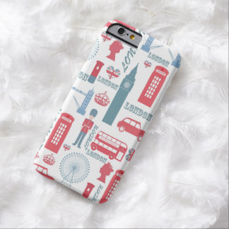 Cool trendy vintage London illustrations pattern Barely There iPhone 6 Case