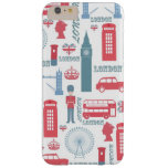 Cool trendy vintage London illustrations pattern Barely There iPhone 6 Plus Case