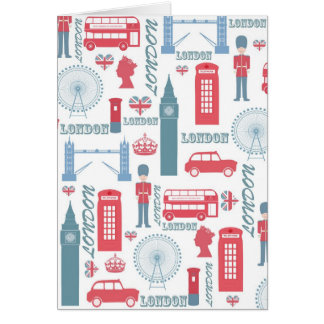 Cool trendy vintage London illustrations pattern Card