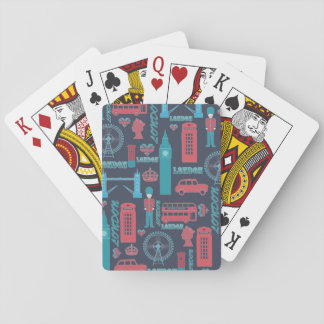 Cool trendy vintage London illustrations pattern Deck Of Cards