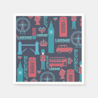 Cool trendy vintage London illustrations pattern Disposable Napkin