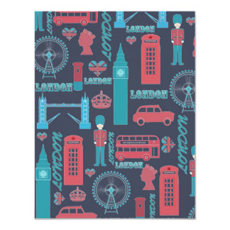 Cool trendy vintage London illustrations pattern 4.25x5.5 Paper Invitation Card