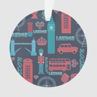 Cool trendy vintage London illustrations pattern Ornament