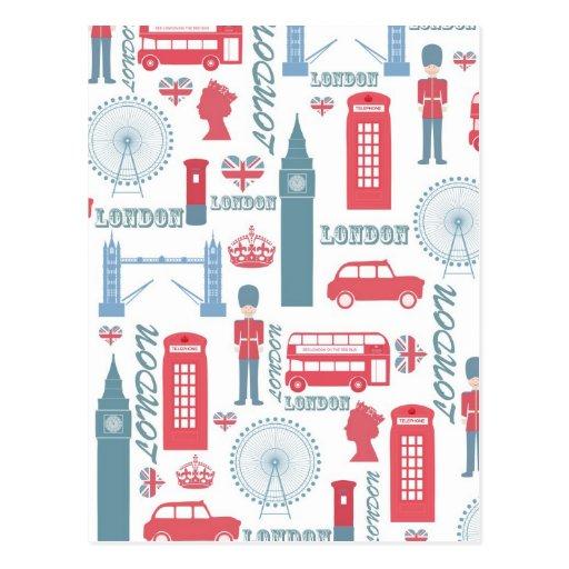 Cool trendy vintage London illustrations pattern Postcards