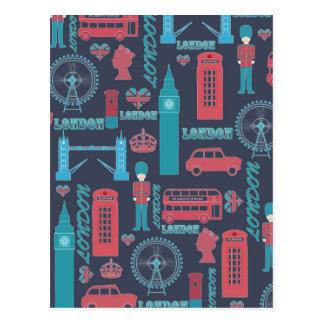 Cool trendy vintage London illustrations pattern Post Cards